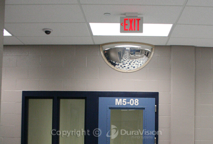 CCTV with half dome mirror